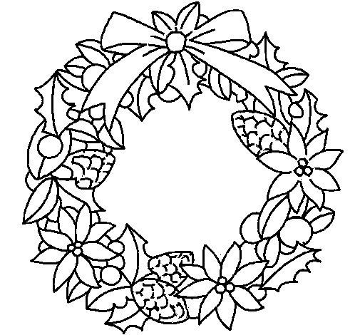 Desenho de Coroa de flores natalícias para Colorir
