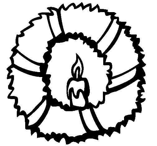 Desenho de Coroa de natal II para Colorir