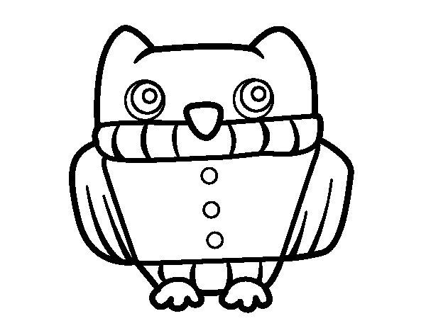 Desenho de Coruja com camisa para Colorir