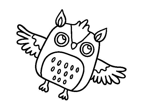 Desenho de Coruja do Dia da Bruxas voando para Colorir