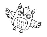 Desenho de Coruja do Dia da Bruxas voando para colorear