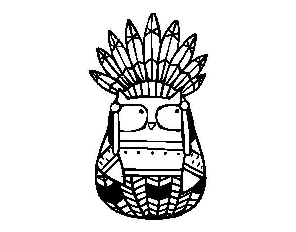 Desenho de Coruja índia chefe para Colorir