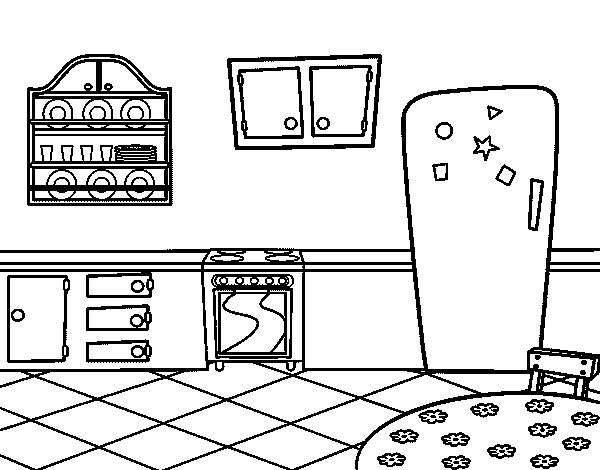 Desenho de cozinha tradicional para colorir for Sala de estar png