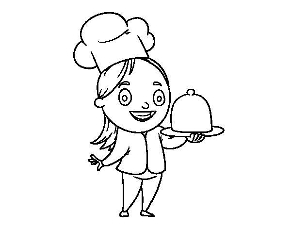 Desenho de Cozinheira com bandeja para Colorir