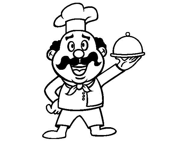 Desenho de Cozinheiro italiano para Colorir