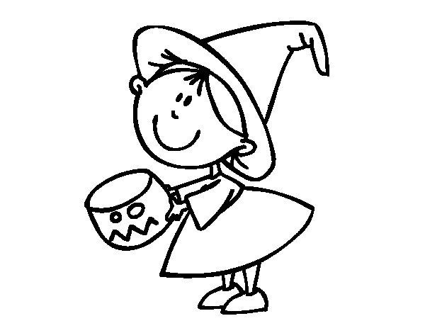 Desenho de Criança pedindo doces para Colorir