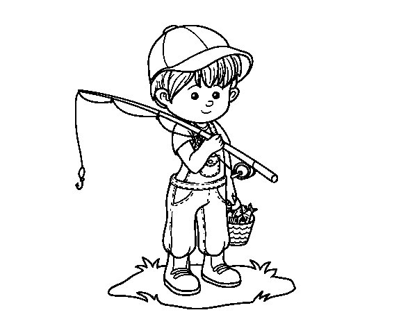 Desenho de Criança pescador para Colorir