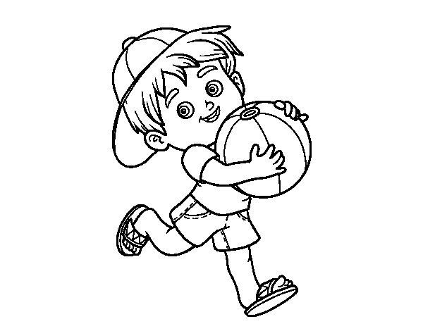 Desenho de Criança que joga com esfera de praia para Colorir