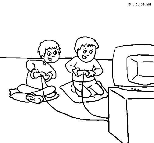 Desenho de Crianças a brincar para Colorir