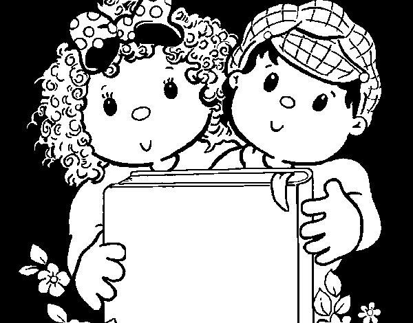 Desenho de Crianças com um livro para Colorir