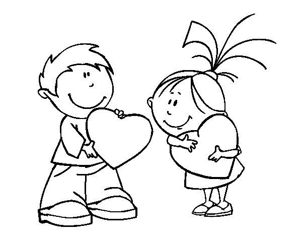 Desenho de Crianças em São Valentim para Colorir