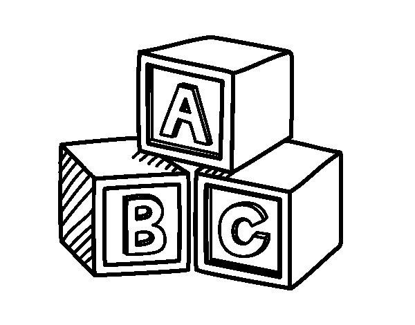 Desenho de Cubos educacionais ABC para Colorir