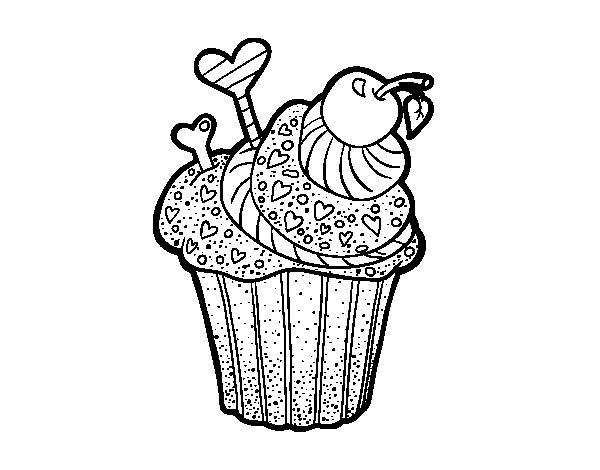 Desenho de Cupcake delicioso para Colorir