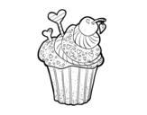 Desenho de Cupcake delicioso para colorear