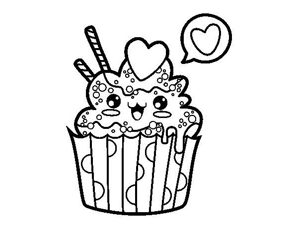 Desenhos Kawaii Para Colorir: Desenho De Cupcake Kawaii Para Colorir
