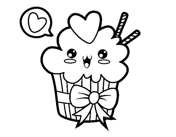 Desenho de Cupcake kawaii com laço para Colorir