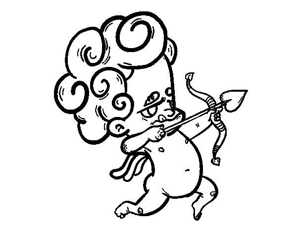 Desenho de Cupido a apontar para Colorir