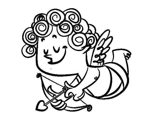 Desenho de Cupido com cachos para Colorir