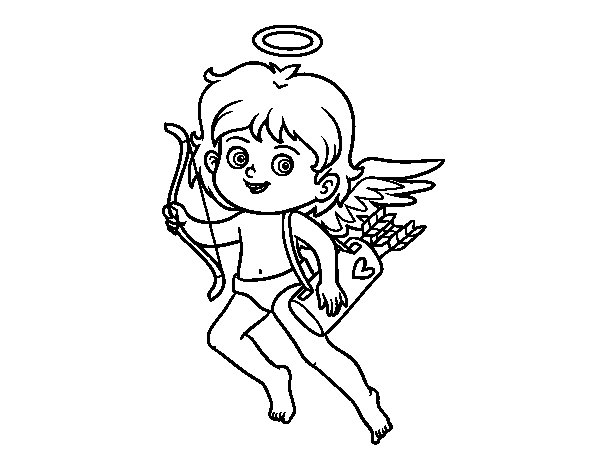 Desenho de Cupido com seu arco mágico para Colorir