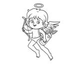 Desenho de Cupido com seu arco mágico para colorear
