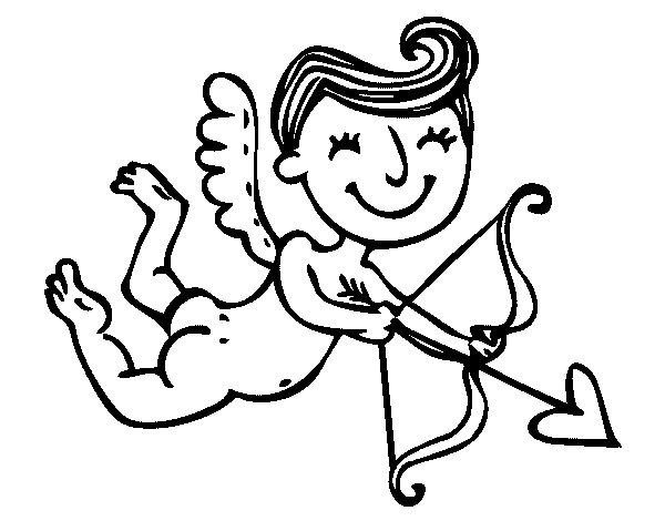Desenho de cupido contente com seta para colorir - Dessin de cupidon ...