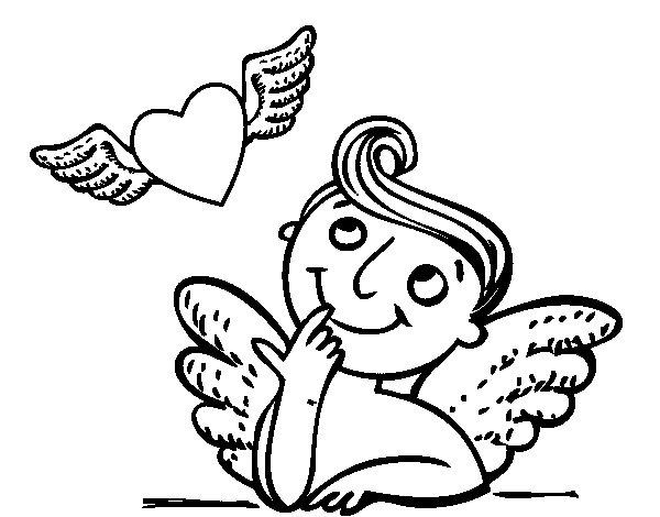 Desenho de Cupido e coração com asas para Colorir