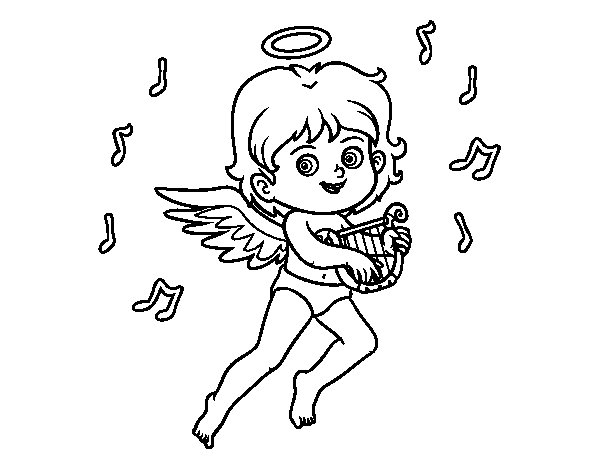 Desenho de Cupido que joga a harpa para Colorir