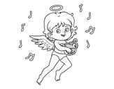 Desenho de Cupido que joga a harpa para colorear