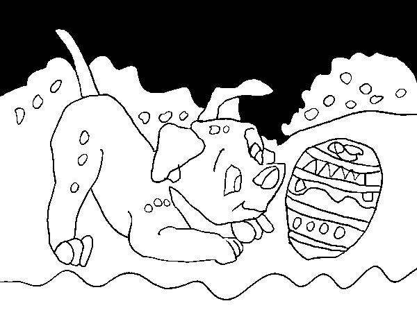 Desenho de Dálmata a jogar para Colorir