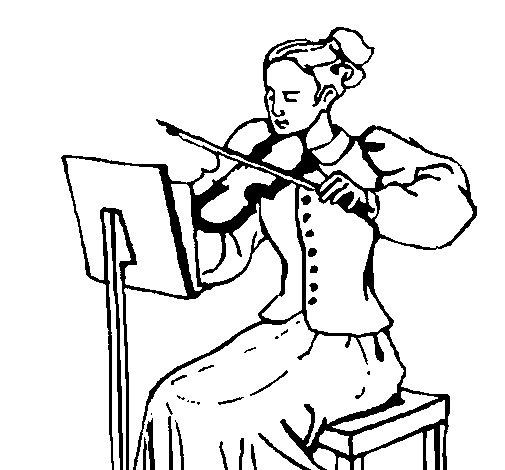 Desenho de Dama violinista para Colorir