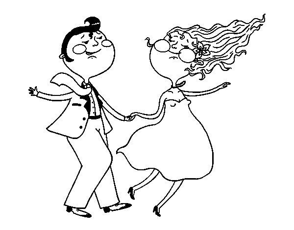 Desenho de Dançarinos do swing para Colorir