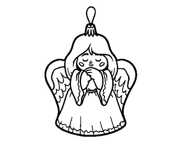 Desenho de Decoração de Natal anjinho para Colorir