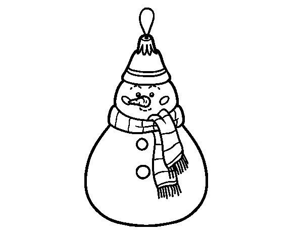 Desenho de Decoração de Natal boneco de neve para Colorir