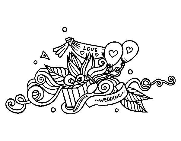 Desenho de  Decoração do casamento para Colorir