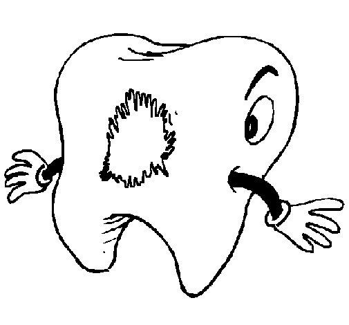 Desenho de Dentes com caries para Colorir