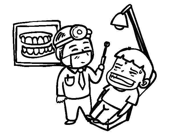 Desenho de Dentista com paciente para Colorir