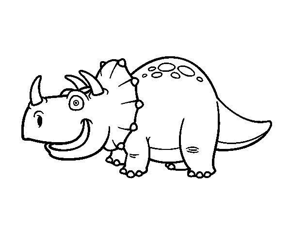 Desenho de Dinossauro Tricerátopo para Colorir