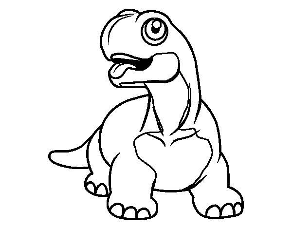 Desenho de Diplodoco com a língua de fora para Colorir