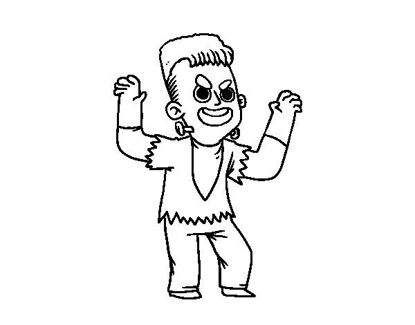 Desenho de Disfarce de Frankenstein para Colorir