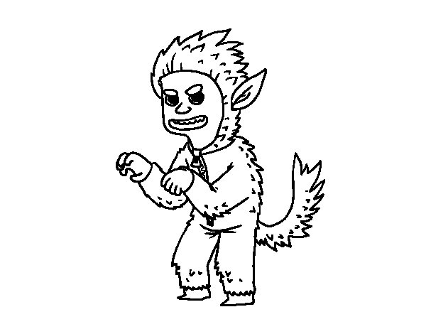 Desenho de Disfarce de Homem lobo para Colorir