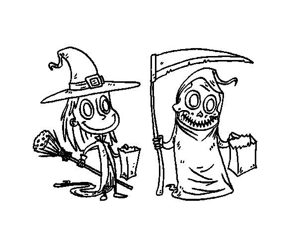 Desenho de Doce ou travessura do Halloween para Colorir