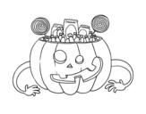 Desenho de Doces de abóbora de Halloween para colorear