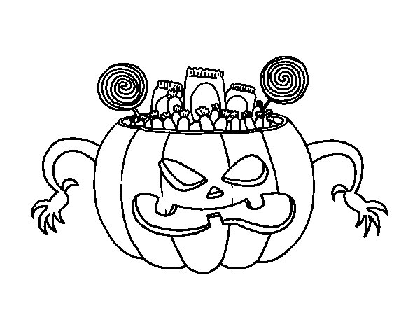 Desenho de Doces do Halloween para Colorir