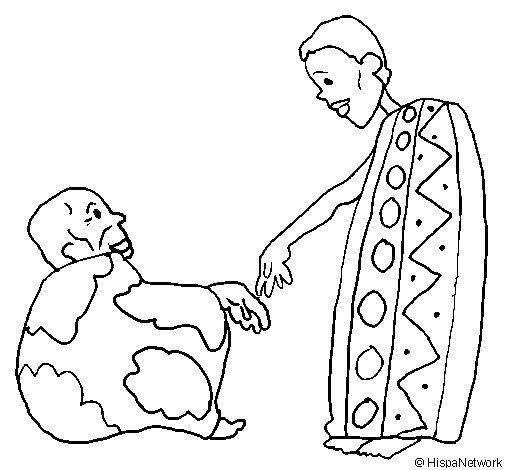 Desenho de Dois africanos para Colorir