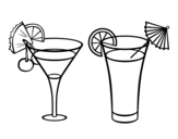Desenho de Dois coquetéis para colorear