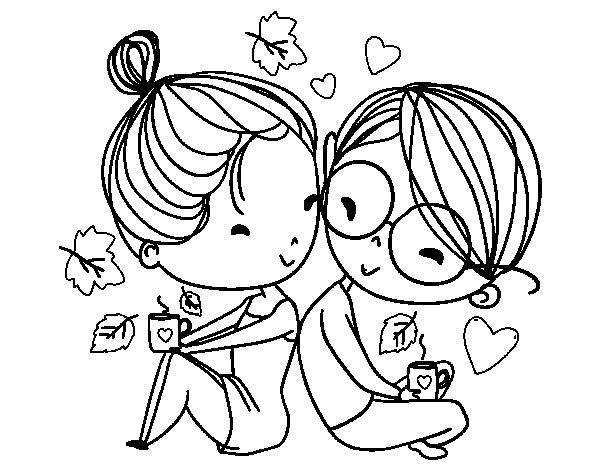 Desenho de Dois jovens amantes para Colorir