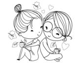 Dibujo de Dois jovens amantes