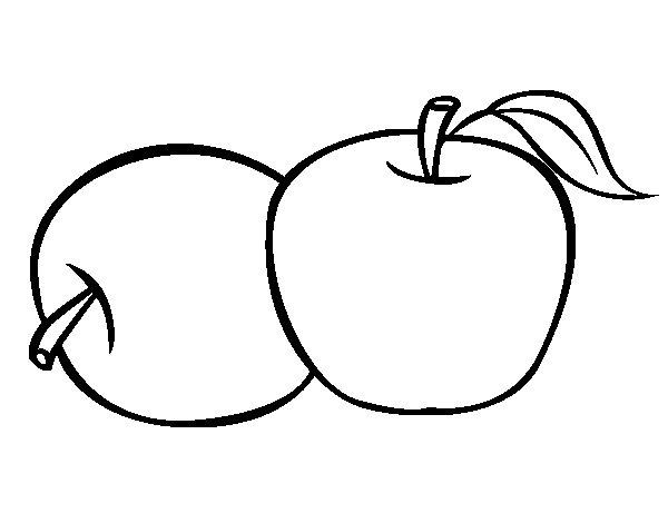 Desenho de Dois maçãs para Colorir