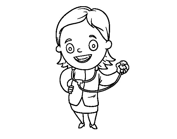 Desenho de Doutora com estetoscópio para Colorir