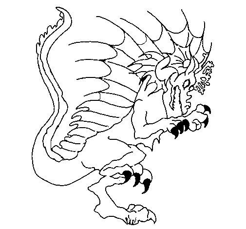 Desenho de Dragão a mostrar as garras para Colorir